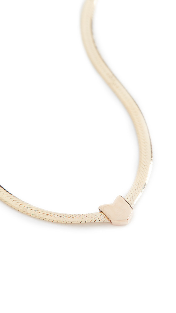 LANA JEWELRY 1.6mm Herringbone V Necklace in gold / yellow