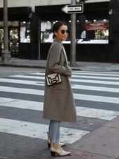 sincerely jules,blogger,coat,t-shirt,jeans,shoes,bag,sunglasses,ankle boots,winter outfits