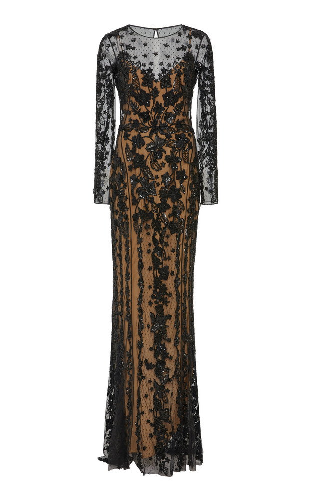 Zuhair Murad Tiare Embroidered Tulle Gown in black