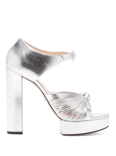 Gucci - Crawford Knotted Platform Leather Sandals - Womens - Silver