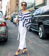 top,striped shirt,oversized shirt,white pants,sandal heels