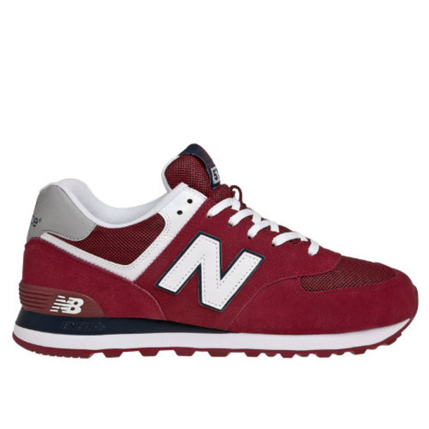 574 New Balance Men's 574 Shoes - Burgundy, White, Navy (ML574CPB)