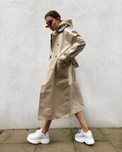 coat,trench coat,vinyl,double breasted,long coat,white sneakers,platform shoes,hoodie,sunglasses