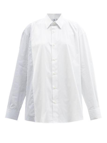 Vetements - Striped Panel Cotton-blend Poplin Shirt - Womens - Blue White