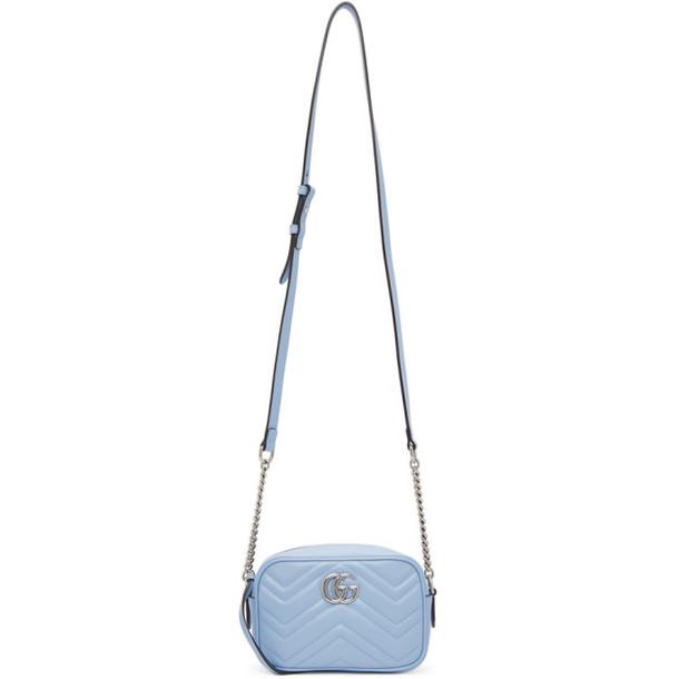 Gucci Blue Mini GG Marmont 2.0 Camera Bag