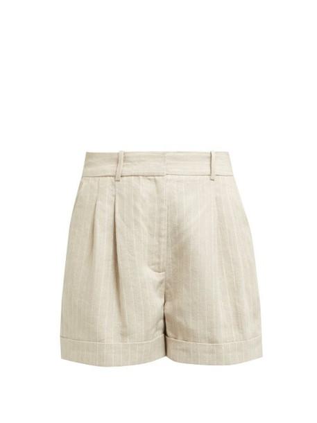 Racil - Max Striped Linen Shorts - Womens - Beige