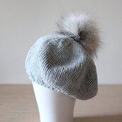 hat,cashmere,beret,grey hat,fur pom pom hat