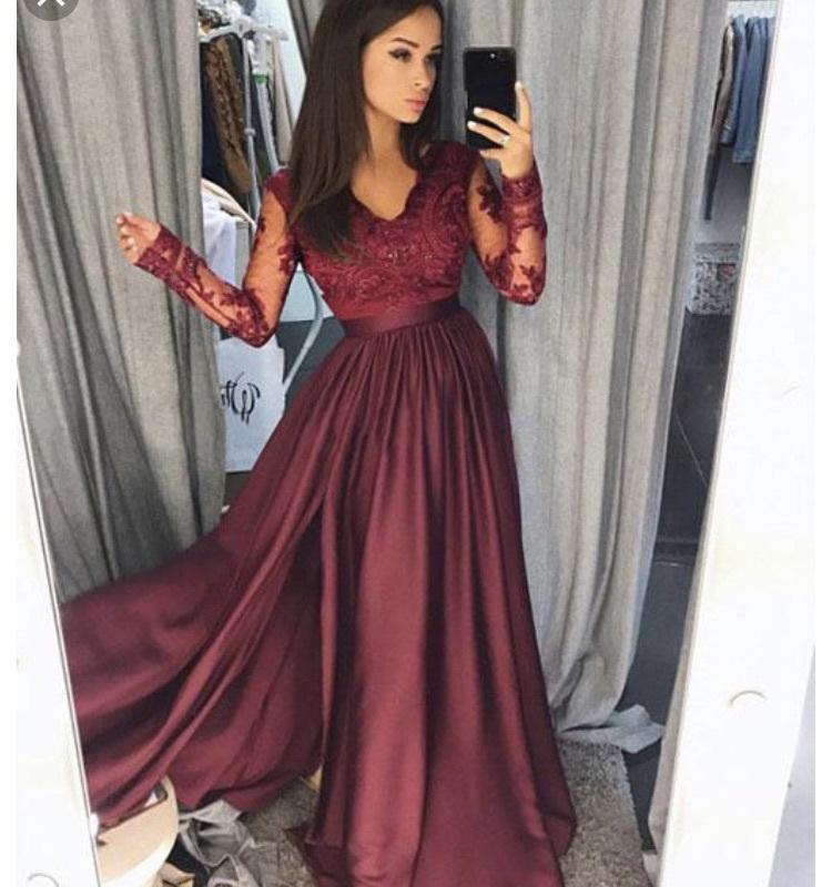 dress red lace dress long sleeve