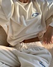 pants,cream,sweatpants