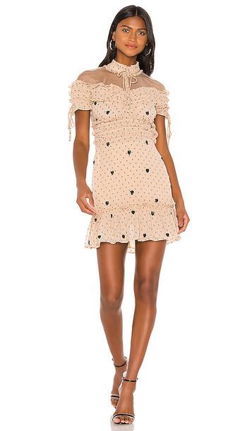 NBD Cherry Pie Mini Dress in Beige