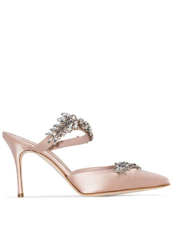 Manolo Blahnik Lurum 90mm crystal-embellished mules in neutrals