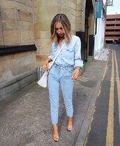 jeans,high waisted jeans,denim shirt,sandal heels,white bag