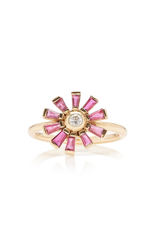 Yi Collection 14K Gold, Ruby And Diamond Ring Size: 6 in pink