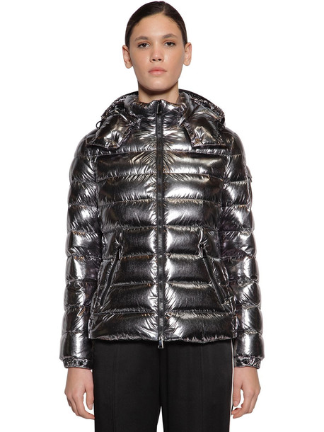 MONCLER Bady Metallic Nylon Down Jacket in silver