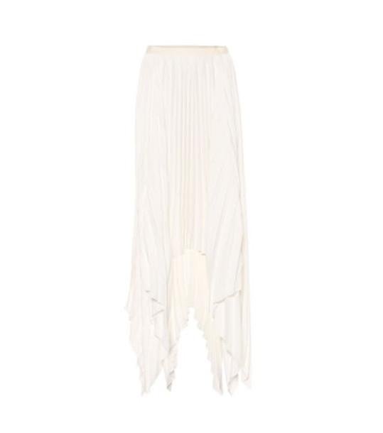 Khaite Charlotte pleated satin midi skirt in white
