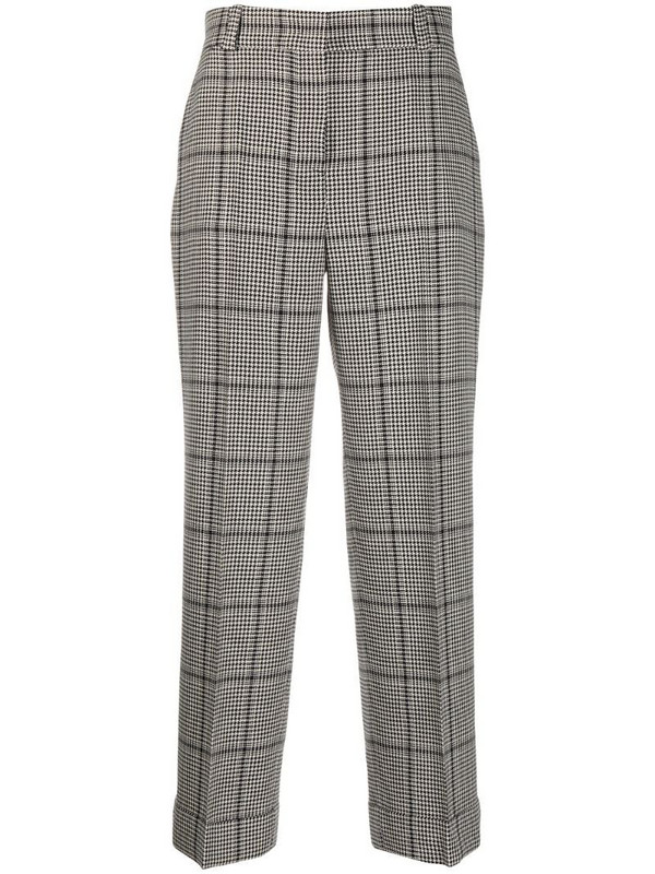 Pt01 houndstooth straight-leg trousers in black