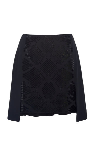 David Koma Plexi Embroidered Mini Skirt in black