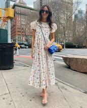 dress,white dress,maxi dress,floral dress,short sleeve dress,white sandals,chanel bag