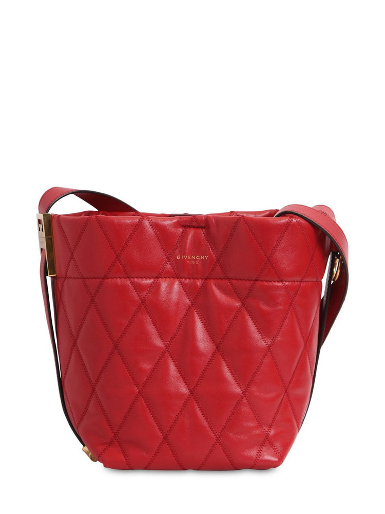 GIVENCHY Mini Gv Quilted Leather Bucket Bag in gold / multi
