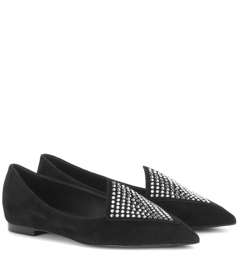 Balmain Crystal-embellished suede slippers in black