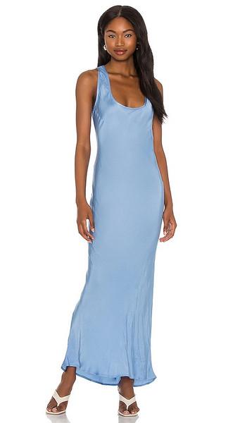 Cali Dreaming Simple Slip Dress in Baby Blue in denim / denim