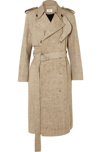 Bottega Veneta - Frayed Belted Linen Trench Coat - Beige