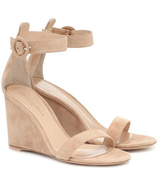 Gianvito Rossi Portofino 85 suede wedge sandals in beige
