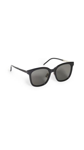 Saint Laurent SL M77/K Feminine Squared Sunglasses in black / gold / grey