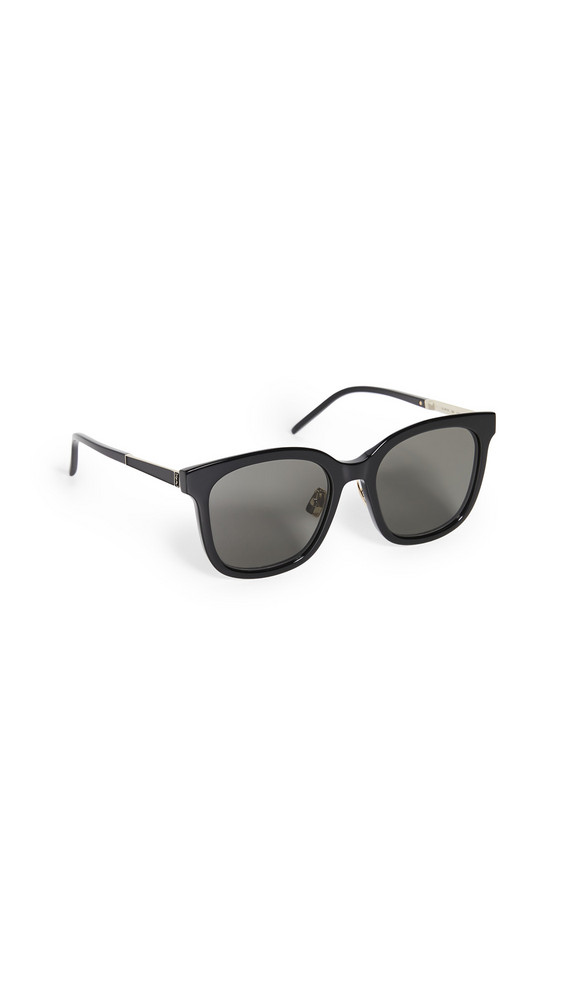 Saint Laurent SL M77/K Feminine Squared Sunglasses in black / gold / grey