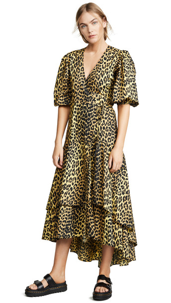 GANNI Bijou Wrap Dress in yellow