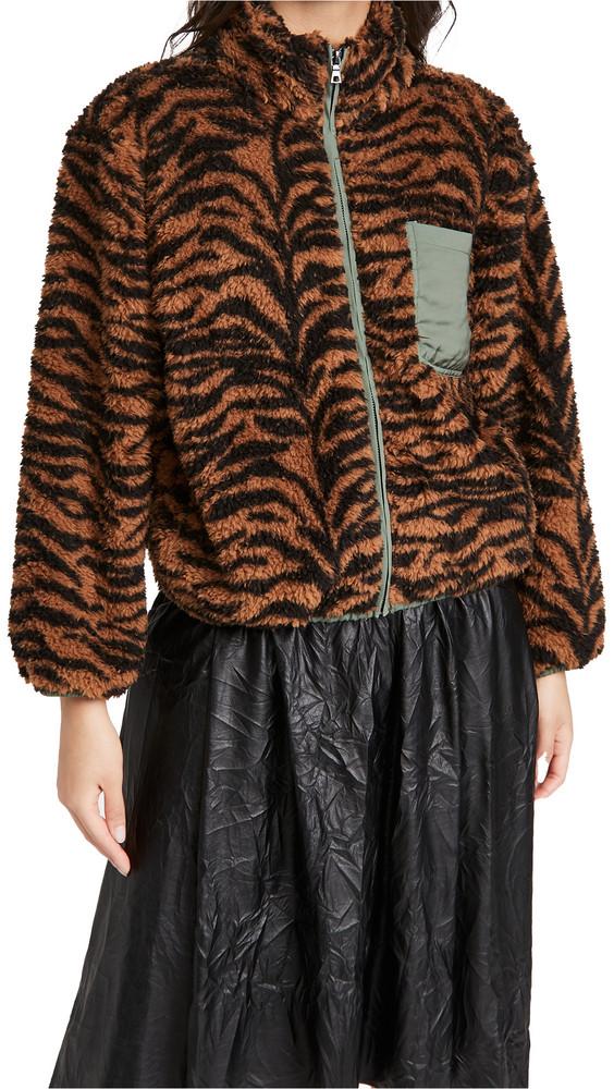 Plush Tiger Fleece Jacket in black / green / tan