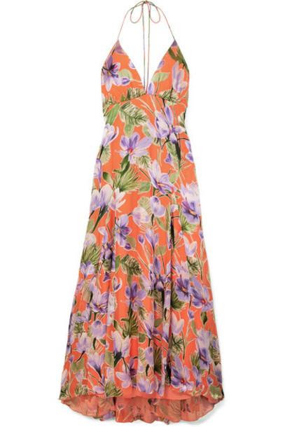 Alice + Olivia Alice Olivia - Hetty Floral-print Flocked Satin Maxi Dress - Coral