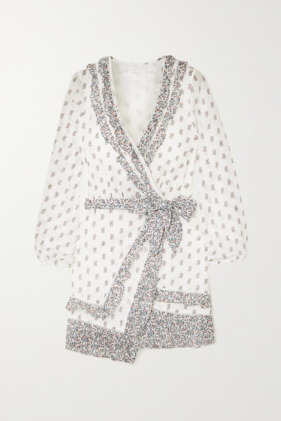 VERONICA BEARD - Kierra Ruffled Floral-print Cotton-voile Mini Wrap Dress - White