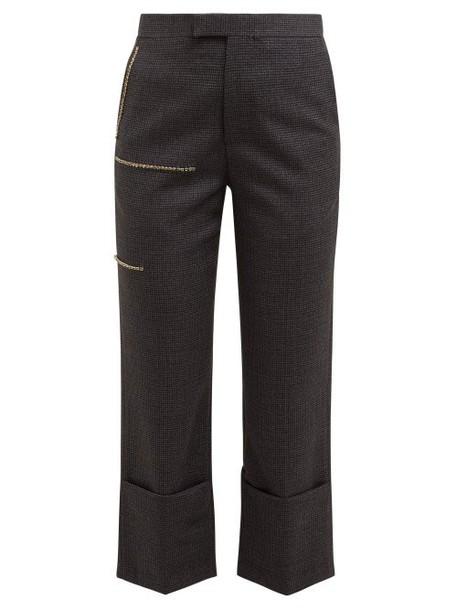 Raf Simons - Crystal Strip Houndstooth Wool Trousers - Womens - Grey Multi