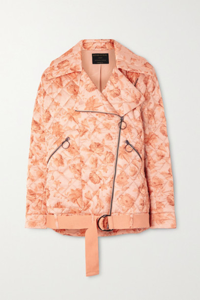 Mother of Pearl - Net Sustain Quilted Floral-print Satin Biker Jacket - Peach