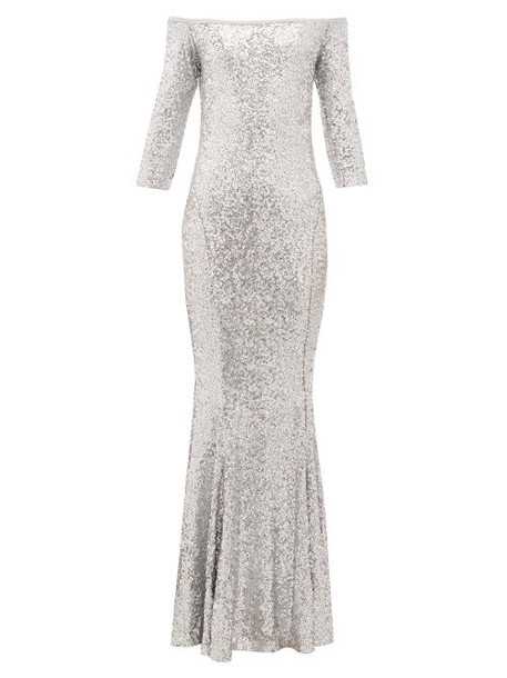Norma Kamali - Mermaid Hem Off The Shoulder Sequinned Dress - Womens - Silver