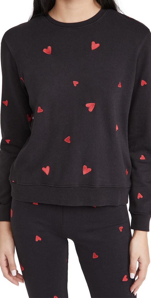 MONROW All Over Embroidered Heart Boyfriend Sweatshirt in black