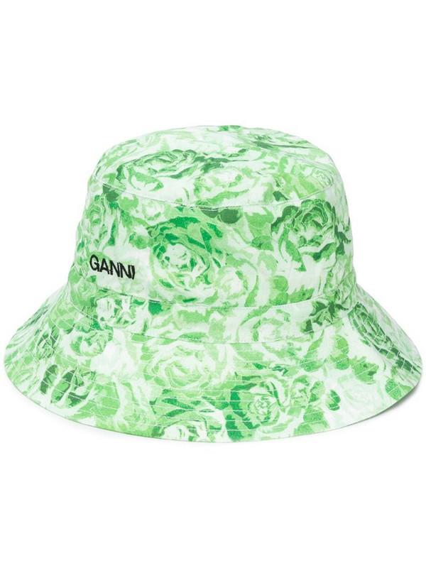 GANNI floral print bucket hat in green