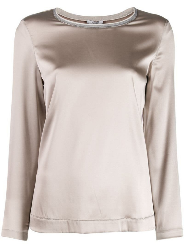 Peserico stretch long sleeve top in grey