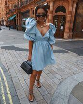 dress,mini dress,blue dress,puffed sleeves,black sandals,black bag
