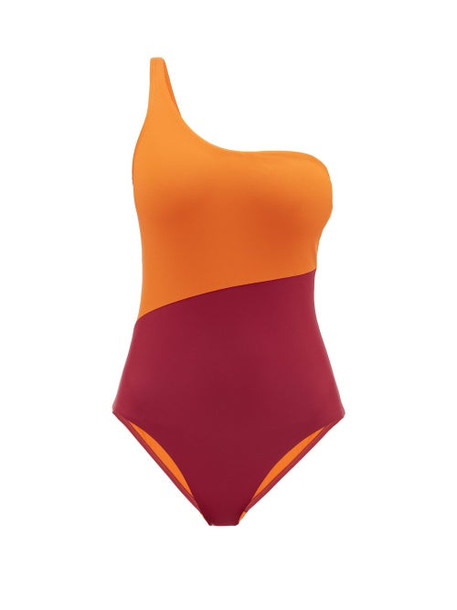 Casa Raki - Magda Bi Colour One Shoulder Swimsuit - Womens - Pink Multi