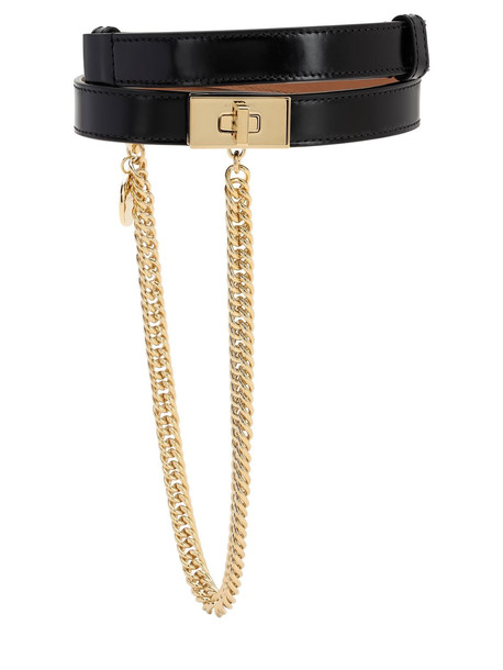 GIVENCHY 20mm Smooth Leather Belt W/ Chain in black