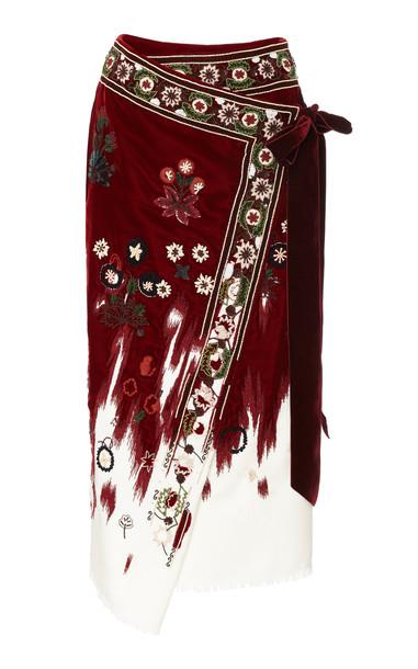 Oscar de la Renta Embroidered Velvet-Trimmed Wool Wrap Skirt in burgundy