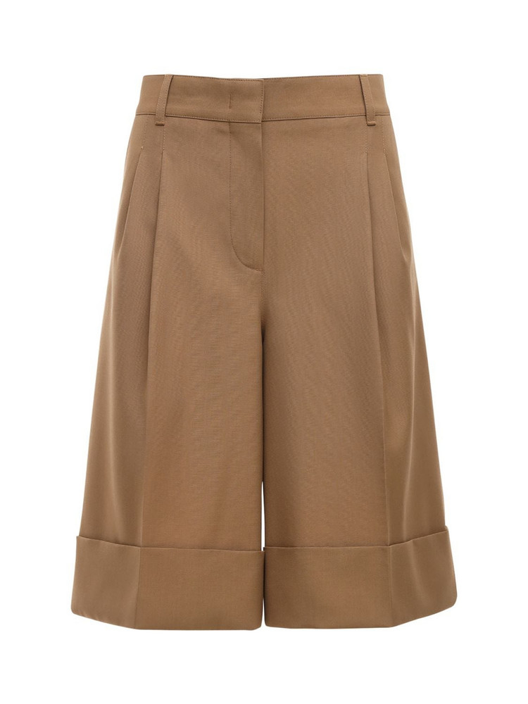 CASASOLA High Waist Wool Bermuda Shorts in camel