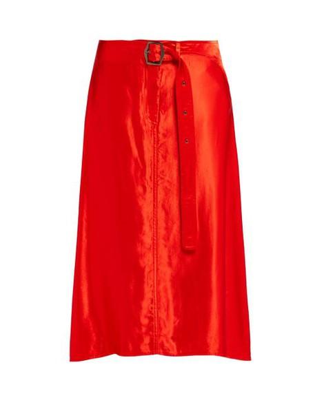 Sies Marjan - Rayna Buckled Satin Skirt - Womens - Red