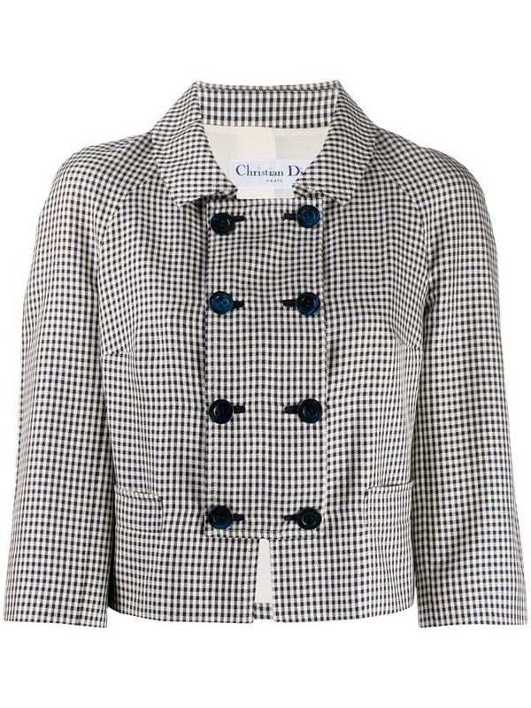 Christian Dior pre-owned houndstooth double-breasted jacket in black