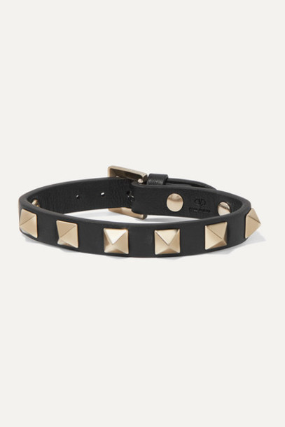 Valentino - Valentino Garavani The Rockstud Leather Bracelet - Black