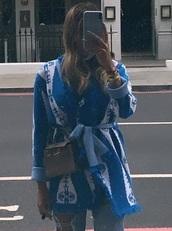 cardigan,light blue,white,pattern