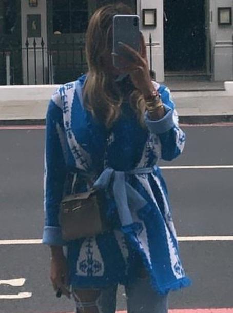 cardigan light blue white pattern