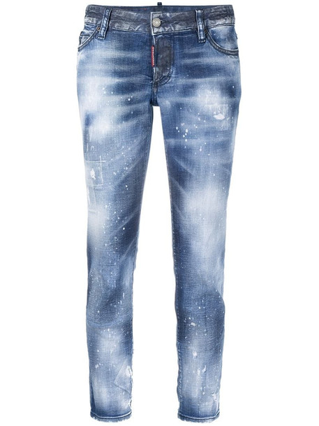 Dsquared2 distressed straight-leg jeans in blue